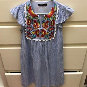 XS embroidered dress- EUC